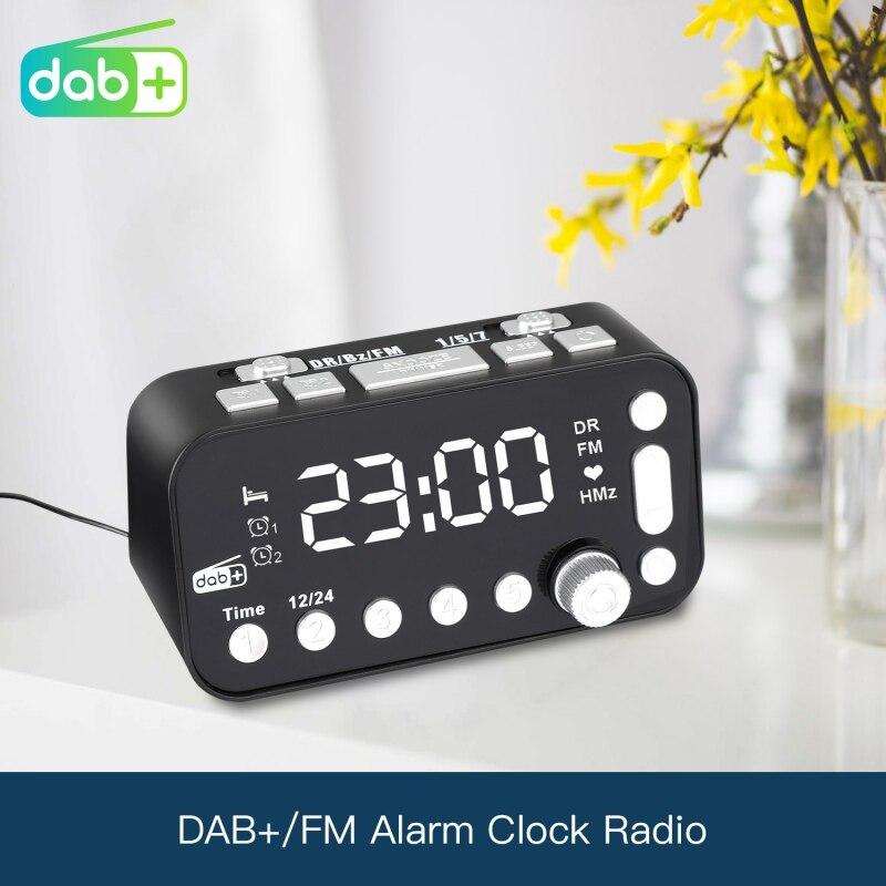 Dual USB Port Digital Alarm Clock DAB & FM Alarm Clock Radio LCD Backlight Sleep Timer for Office Bedroom Travel(China)