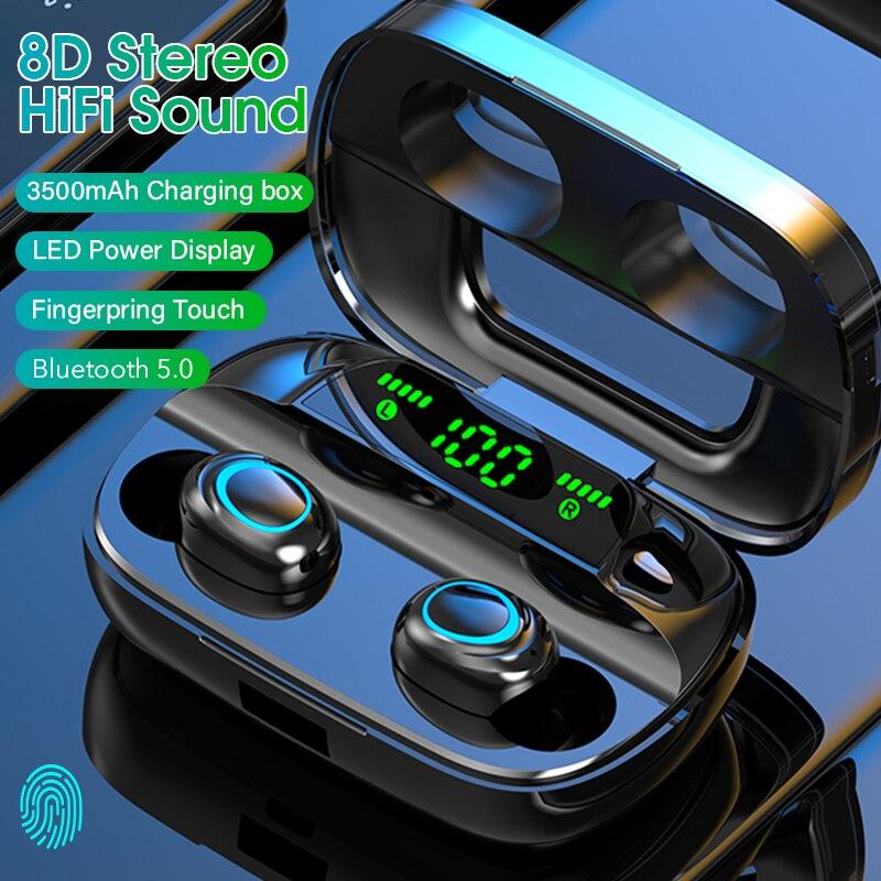 Сенсорные беспроводные наушники TWS 5,0, Bluetooth наушники, Hi-Fi стерео наушники с шумоподавлением, гарнитура, водонепроницаемые наушники, светоди...