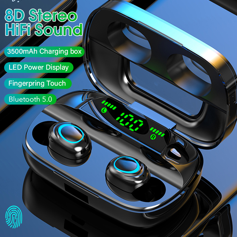 Touch Wireless Earphone TWS 5 0 Bluetooth Headphones HiFi Stereo Earphones Noise Canceling Headset Waterproof Earbuds LED Power