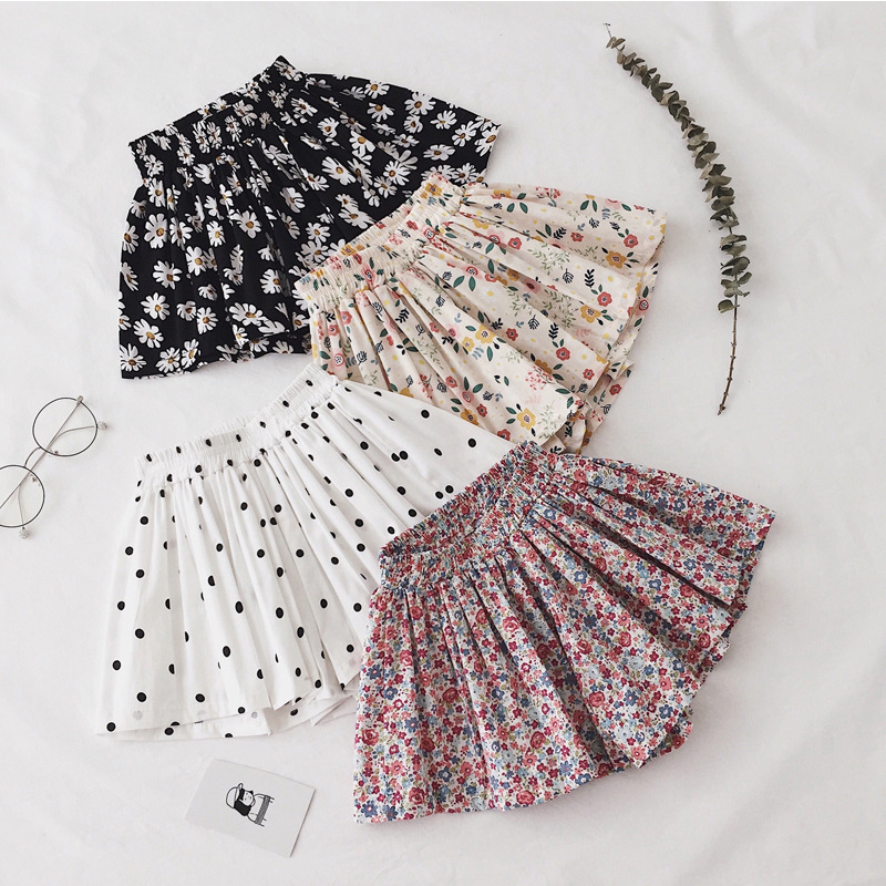 Summer Infant Baby Girl Floral Shorts Toddler Newborn Small Daisy Flower Print Pleated Skirt Kids Shorts Children Skirts Clothes