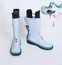New VOCALOID Hatsune Miku 2017 Magical Mirai Cosplay Shoes Miku Cosplay Boots w/Bowknot Women Anime Shoes Halloween Party Shoes цены онлайн