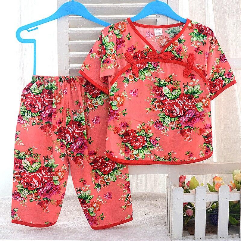 Summer WOMEN'S Suit Bourette Short Sleeve Infants Children Artificial Cotton Capri Pants Baby Retro Tracksuit Air Conditioning C