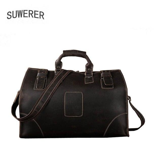 SUWERER New Genuine Leather bag Men's bag large capacity travel bag leather shoulder bag portable travel bag men large bag 6