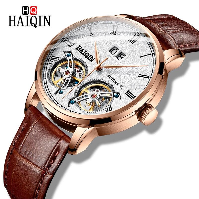 2019 novos relógios masculinos mecânicos relógios de pulso haiqin marca superior de luxo relógio casual masculino à prova dwaterproof água relógio de couro reloj hombre
