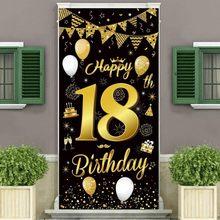 Bannière d'anniversaire 18 ans, pendentif de cérémonie à paillettes or noir, décoration de fête, 30 40 50 60 anniversaire