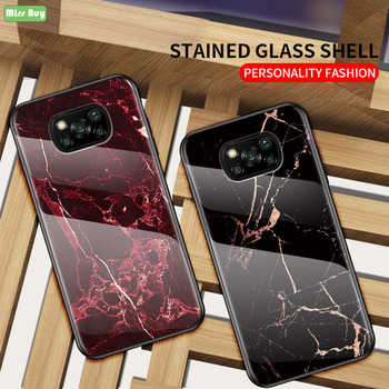 For Xiaomi Poco M3 X3 NFC Case Cover Luxury Marble Tempered Glass Phone Cases For Xiaomi Poco X3 Case Bumper Coque Phone Shell