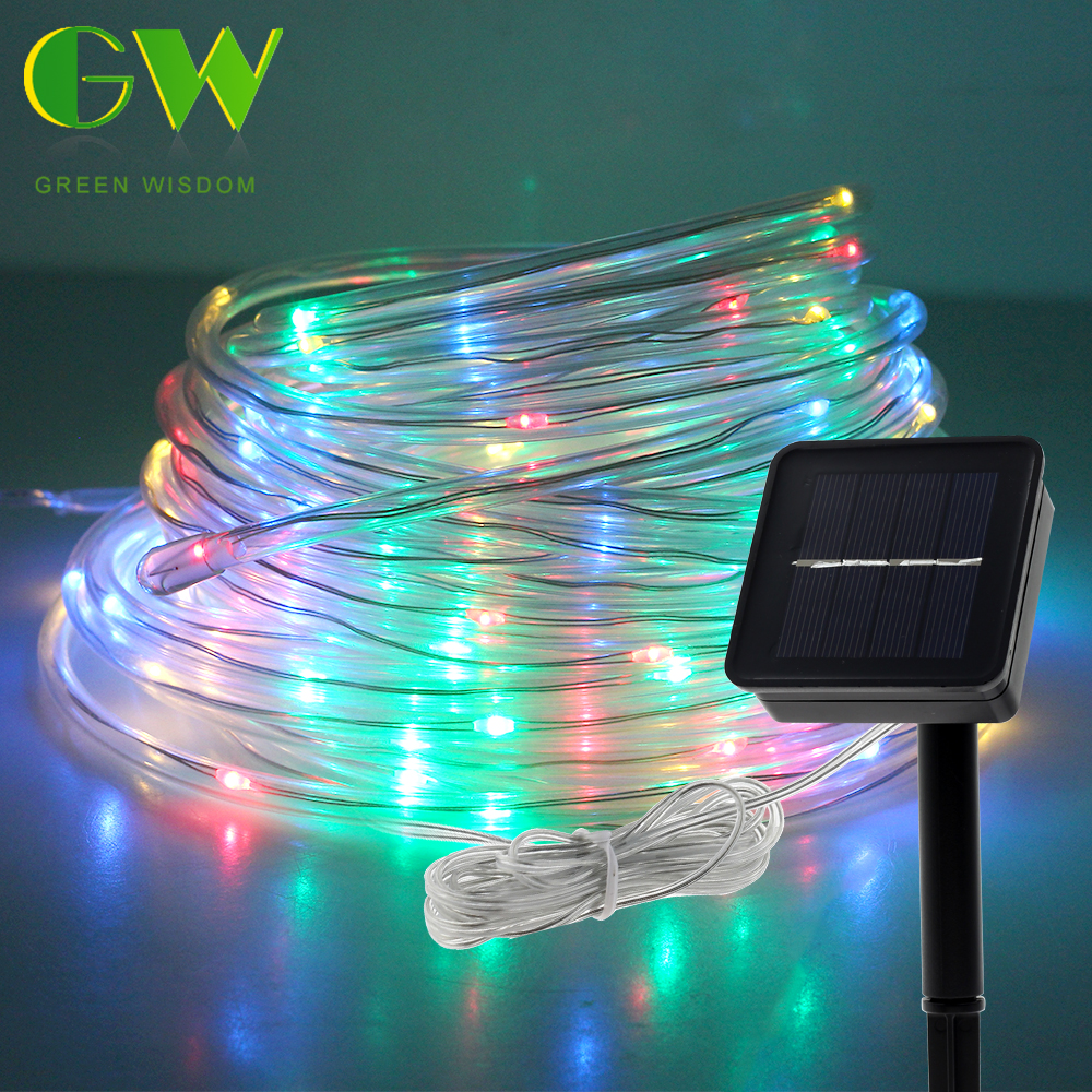 Outdoor LED Solar String Lights Waterproof Hose Colorful Garland For Xmas Party Wedding New Year Christmas Tree Decorations 10M