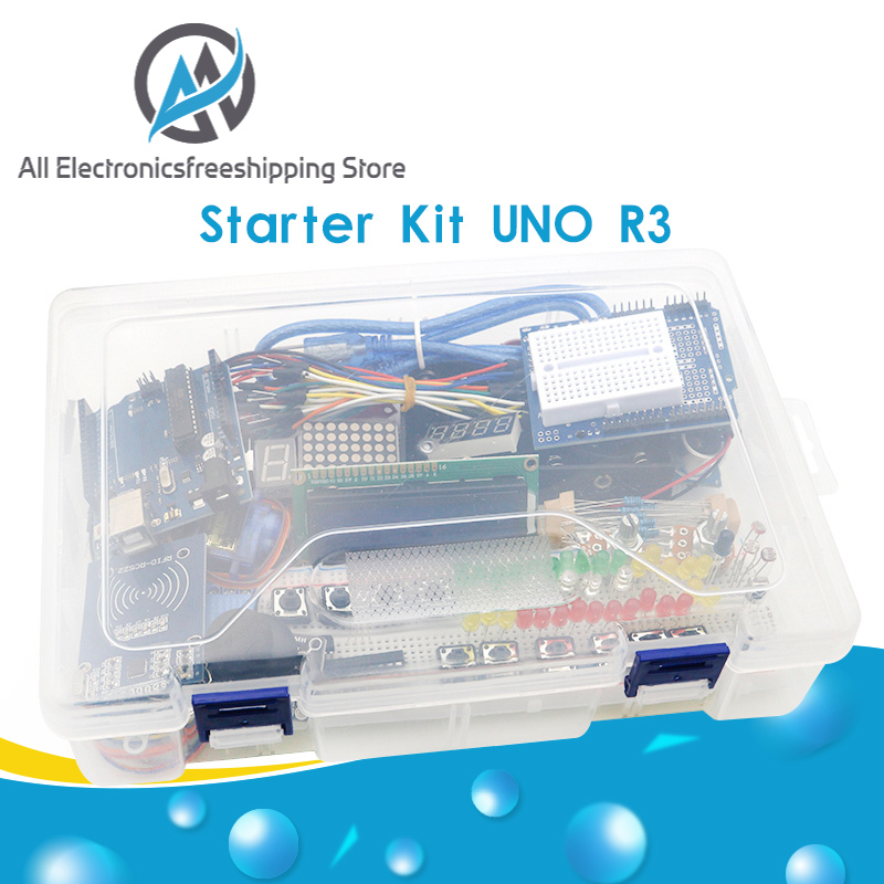 Starter Kit for arduino Uno R3 - Uno R3 Breadboard and holder Step Motor   Servo  1602 LCD   jumper Wire  UNO R3