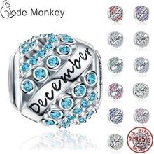 100% Real 925 Sterling Silver 12 Style Birthstone Fit Original Pandora Bracelet&Bangle For Women Birthday Fashion Jewelry Gift
