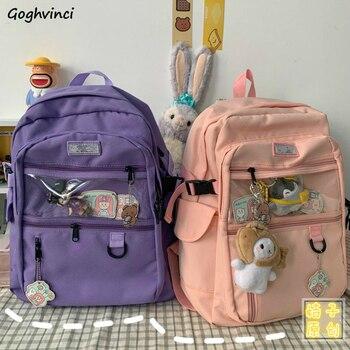 Mochilas para mujeres Oxford Casual liso Simple estudiantes Preppy dulce mochila para mujer-Encuentro de bolsas de viaje bolsillos moda Chic