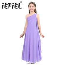 IEFiEL เด็กหญิงเด็กหญิงชุด Vestidos ชีฟองไหล่ Rhinestone First Communion ปาร์ตี้ฤดูร้อนชุด