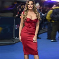 Square Neck Draped Bust Celebrity Satin Dress Women Spaghetti Strap Open Fork Red Bodycon Summer Midi Party Dress Vestidos