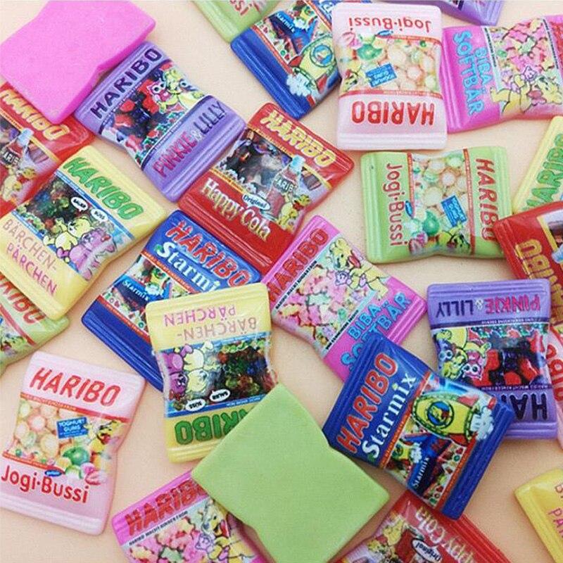 20Pcs Kawaii Cartoon Candy Resins Decoration Craft Flatback Cabochon Embellishments For Scrapbooking Cute Diy Accessories