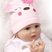22 pulgadas 55 cm crianza muñecas del bebé de silicona juguete U7EE