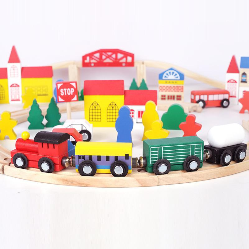 100pcs Wooden Track Urban Rail Transit Train Track Wooden Assembly Block Game Montessori Educational Toys Gifts For Children