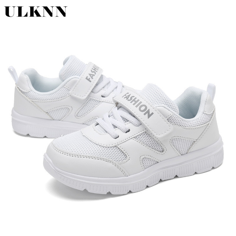 ULKNN 2020 Campus Children's White Shoes Boys Sneakers Running Shoes White Casual Girl Boy Shoes Soft Bottom White Shoe