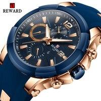 Ödül marka Erkek saatler su geçirmez silikon kayış spor kronometreli kuvars saat erkekler için Kol Saati moda Erkek Kol Saati
