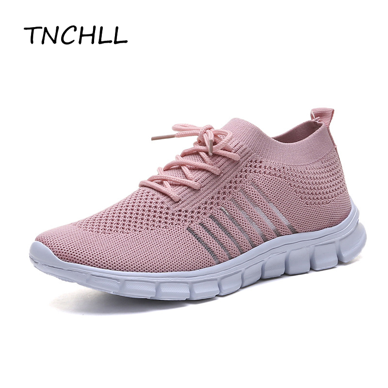 Women Mesh Weaving Socks Shoes Lightweight Breathable Ladies Non-slip Walking Soft Running Shoes Sneakers Casual Shoes NSE7390