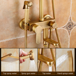 Image 4 - Antique Bronze Rain Shower Set with Bidet Spray Bathroom Rainfall Shower Faucet Soild Brass with Hand Shower ELS4102