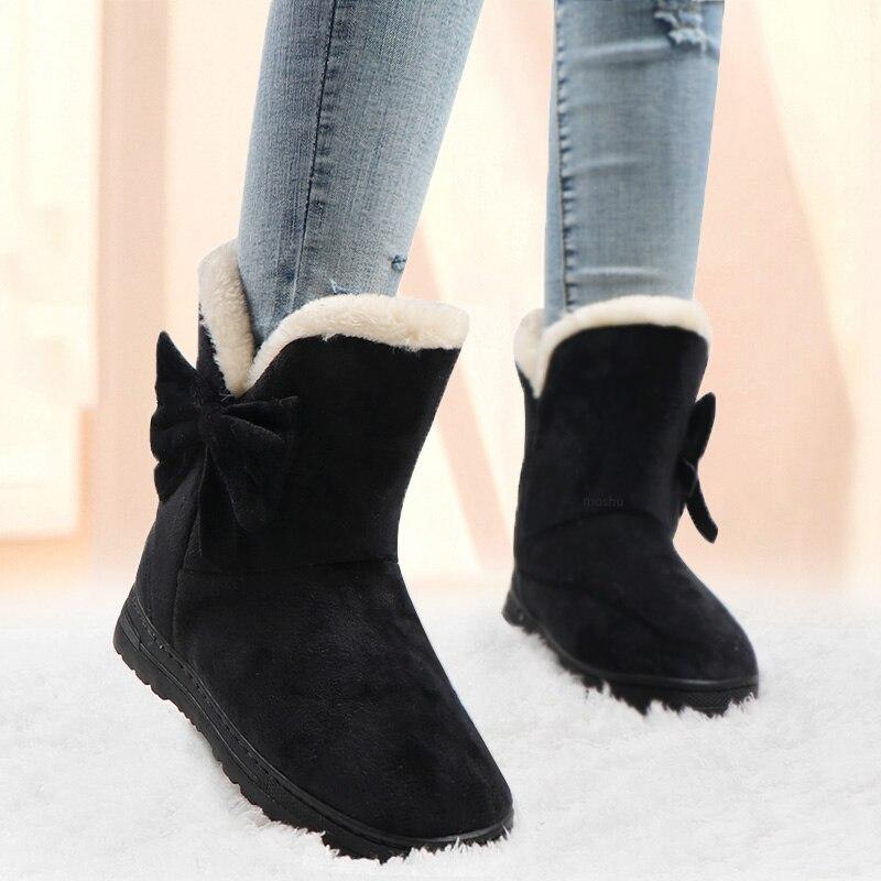 Botas de tornozelo mulheres inverno quente botas de neve feminino bowtie plataforma botas senhoras deslizamento em sapatos de borboleta sólida botas femininas 2019