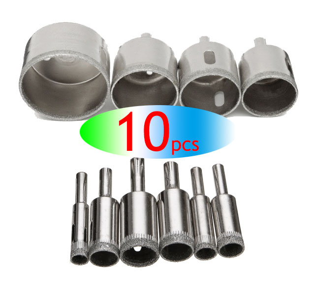 Wholesales 10Pcs Diamond Drill Bits Set Hole Saw Cutter Tool Glass Marble Granite Use For Glass, Marble, Tile Or Granite
