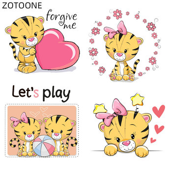 ZOTOONE Iron on Couple Tiger Patches Heat Transfer for Clothing DIY Letter Flower Patch for Kids Vinyl Heart Stickers Applique H image