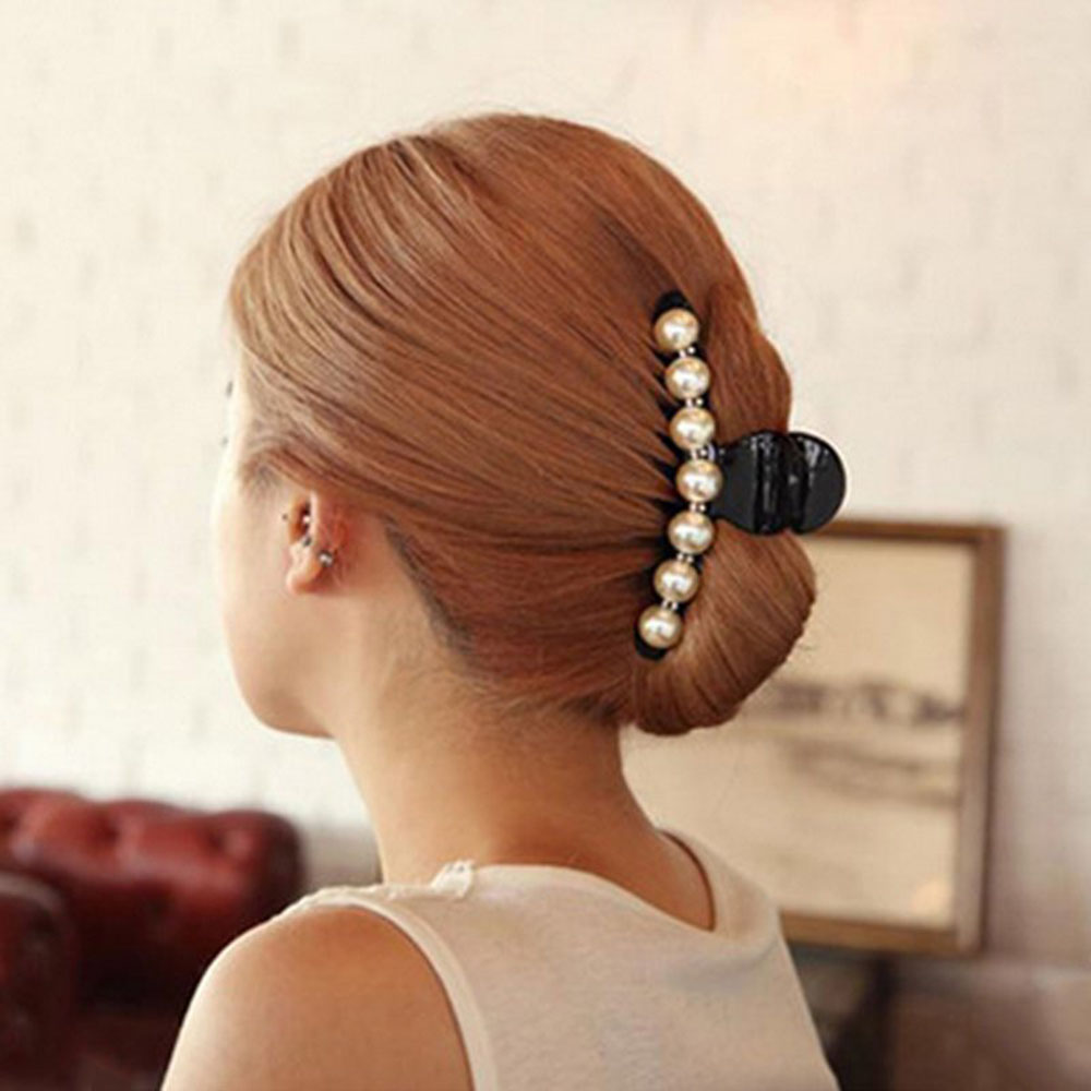 Korea Hair Accessories Head Jewelry Pearl Rhinestones Large Trumpet Hair Grab Catch Clip Hairpin Bangs Horsetail Clip New