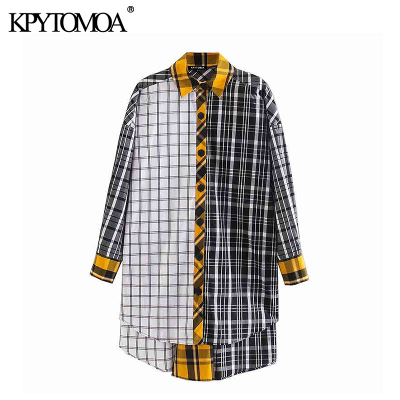 KPYTOMOA Women 2020 Vintage Fashion Patchwork Plaid Oversized Blouses Lapel Collar Long Sleeve Irregular Female Shirts Chic Tops