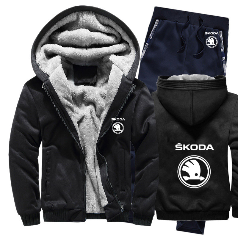 Hoodies Men Skoda Car Logo Mens Hoodies Suit Winter Thicken Warm Fleece Cotton Zipper Tracksuit Mens Jacket+Pants 2Pcs Sets