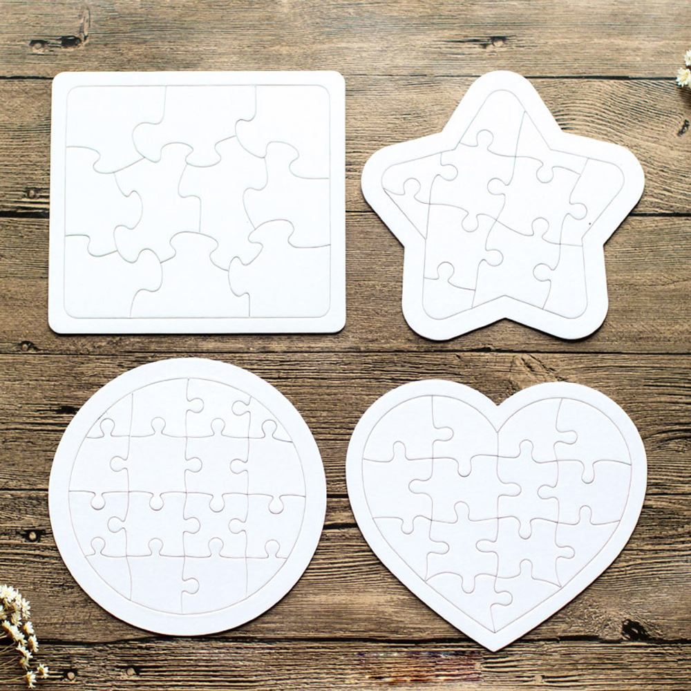 White Mold Board Assembled Puzzles DIY Toys For Kids Blank Puzzle Coloring Educational Toys Baby Drawing Toy Children Gift