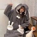 Nette Flanell Stich Pyjamas Winter Plus Samt Warme Onesie frauen Nachtwäsche Unisex Kaninchen Lose Dicken Plüsch Mit Kapuze Homewear
