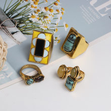Nowy Vintage geometryczny wzór kamienny pierścień Crack osobowość sygnet pierścienie dla kobiet mężczyzn biżuteria Party prezent hurtownie