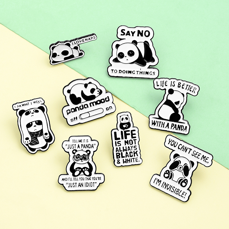Panda Rolling Enamel Pin Custom Panda Quote Brooches Badge for Bag Lapel Pin Buckle Fun Animal Jewelry Gift for Kids Friends 6