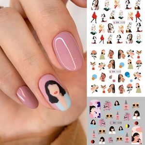 12patterns/sheet Black Line Coloful Abstract Image Nail Sticker Decals Sexy Girl Water Transfer Slider For Nails Art