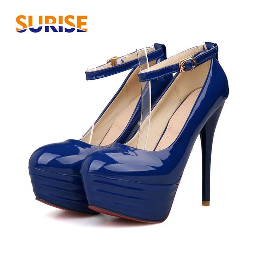 Big Size Women Platform Pumps 13cm Thin Spike High Heel Round Toe Patent Leather Party Wedding Bridal Office Lady Dress Stiletto
