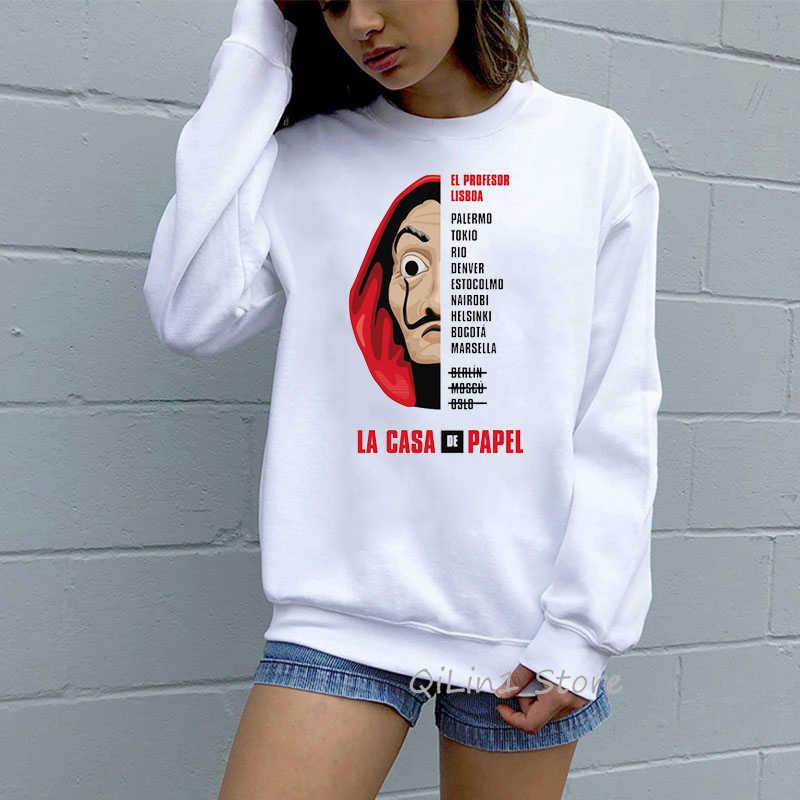 Die Haus von Papier lustige hoodies frauen männer Geld Heist schweiß femme La Casa De Papel jumper langarm sweatshirt benutzerdefinierte kleidung