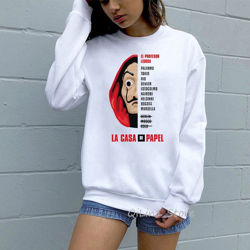 The House Of Paper Funny Hoodies Women Men Money Heist Sweat Femme La Casa De Papel Jumper Long Sleeve Sweatshirt Custom Clothes