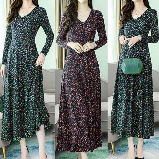 New Spring Summer Women Dress Plus Size Elegant Print Long Sleeve V-Neck Slim High Waist Dress Ropa Mujer