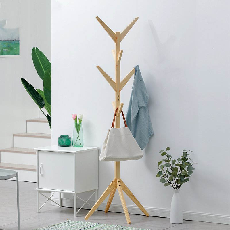 Solid Wood Floor-to-ceiling Clothing Rack Children's Fashion Clothes Rack Living Room Hanger Collection Pure Solid Wood