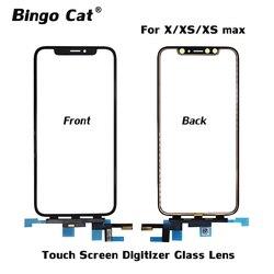 Oryginalny ekran dotykowy Panel szklany obiektyw Digitizer dla iPhone X XS Max zewnętrzny ekran szklany Panel dotykowy części zamienne