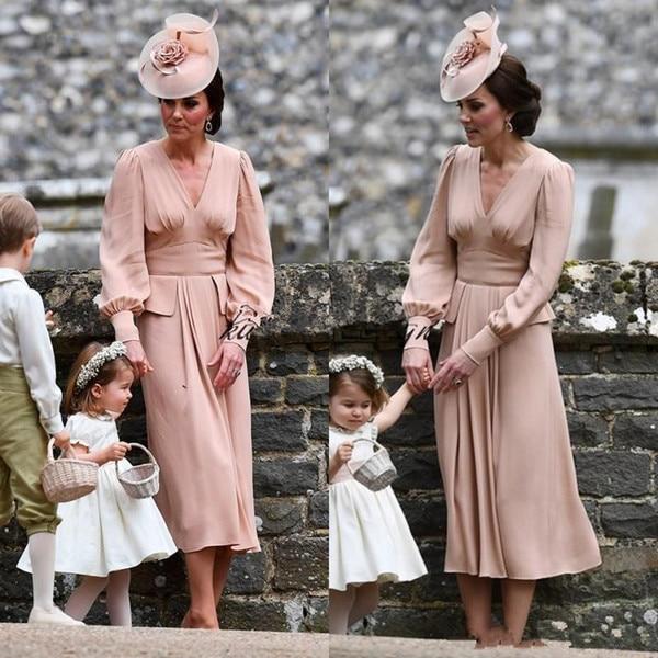 Dusty Pink Mother Of The Bride Dresses 2019 Long Sleeves Tea Length  V Neck Vintage Vestido De Madrinha Wedding Guest Dress