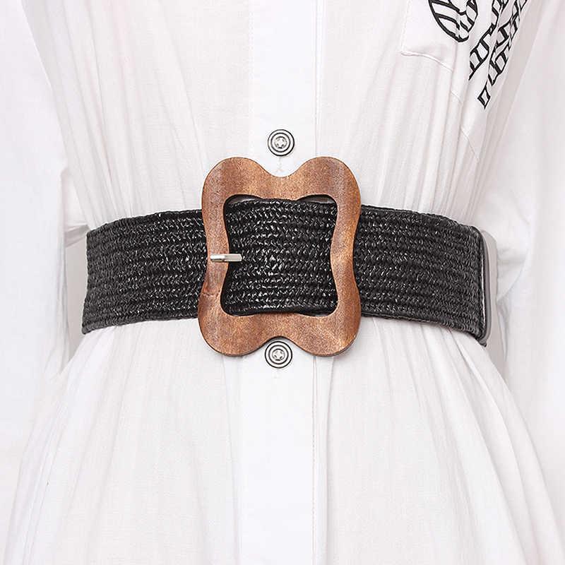 TWOTWINSTYLE Высокая поясной утягивающий ремень для женщин полосатые широкие ремни винтажные платья Аксессуары женские 2019 летние модные новые
