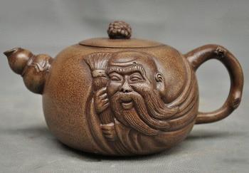 wedding decoration Old China Yixing Zisha pottery carved longevity God Old man Teapot pot Tea Maker