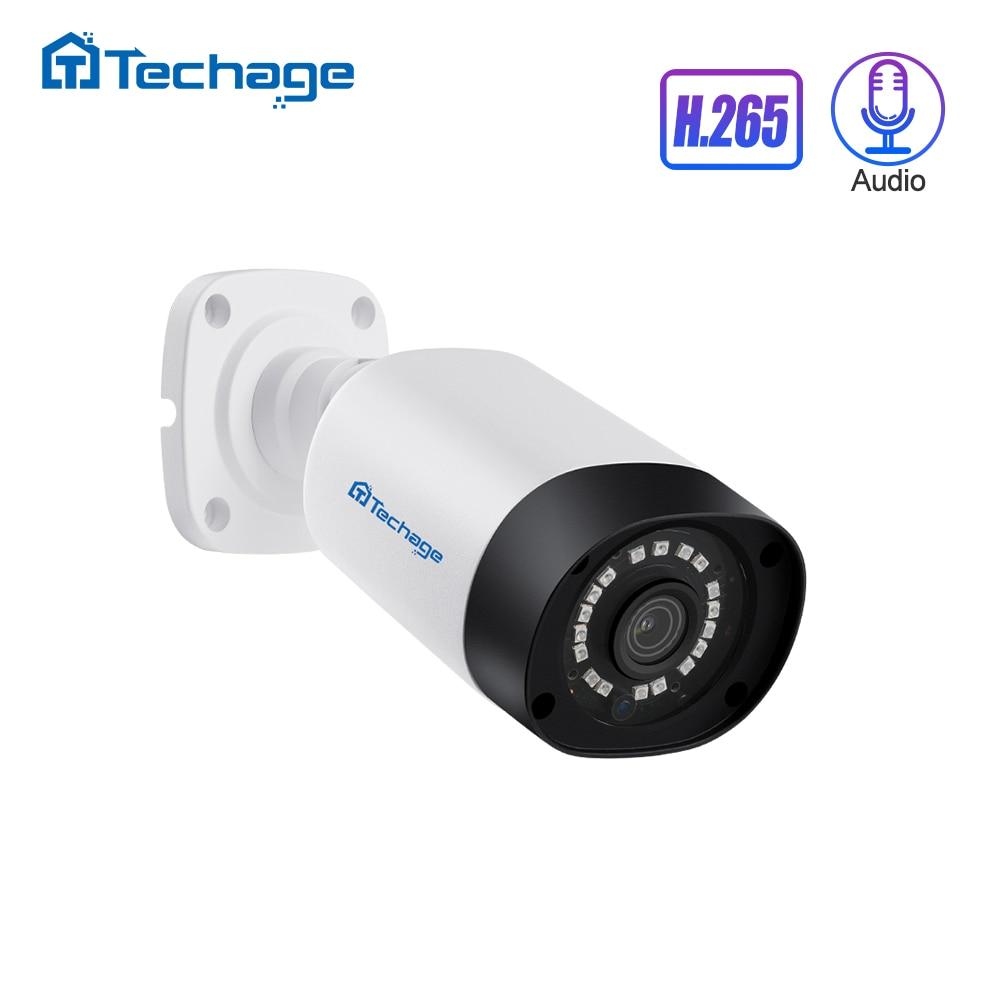 Techage H.265 4MP 5MP Security Audio POE IP Camera Outdoor Waterproof IP66 48V POE ONVIF Microphone CCTV Video Surveillance