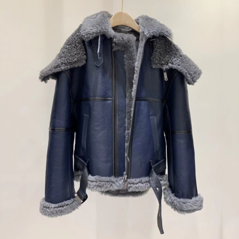 OFTBUY 2019 Winter Jacket Women Real Fur Coat Double-faced Fur Real Leather Coat Natural Sheep Fur Hood Thick Warm Streetwear