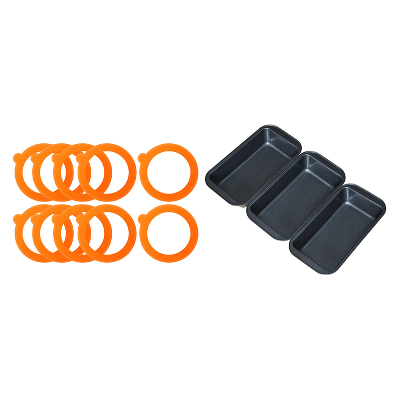 JFBL Hot 3 Pcs 11.8 By 5.5 Inch Carbon Steel Toast Pan & 20 Pcs Replacement Silicone Seals