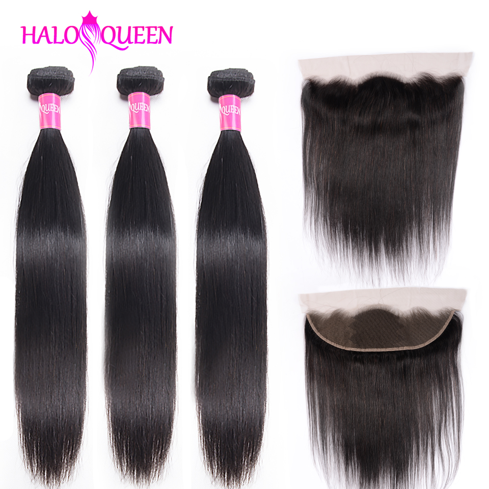 Straight Hair Bundles With Closure Malaysian Human Hair Bundles With Frontal HALOQUEEN Non-Remy Bundles With 13x4 Lace Frontal