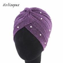 Helisopus 2020 Fashion Women Muslim Shiny Pearls Beaded Mesh Headwrap Hair Lose Turban Headwear Cap for Women Hair Accessories