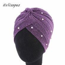 Helisopus 2020 패션 여성 이슬람 반짝 이는 진주 파란색 된 메쉬 Headwrap 머리 잃을 터 번 모자를 쓰고 있죠 모자 여성용 헤어 액세서리