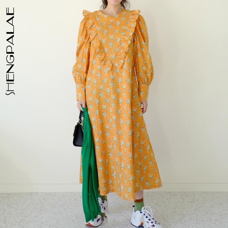 SHENGPALAE 2020 Autumn Women Vintage Loose High Waist Slim Was Thin Elegant Ruffles Stitching Lantern Sleeves Maxi Dress ZA5795